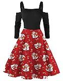 JIER Damen Weihnachtskleid Schulterfreies Partykleid Retro Weihnachten Kleider Langarm Vintage Xmas Drucken A-Linie Swing Kleid Karneval Kostüme Ballkleid (Rot,Small)