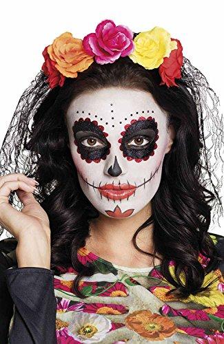 Tiara La Madrina Dia de los Muertos con velo, Modelli/Colori Assortiti, 1 Pezzo