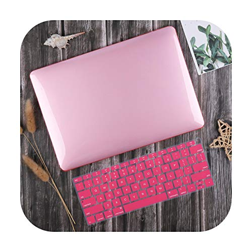 For MacBook Air 13 inch Case 2020 M1 A2337 A2179 Crystal Smooth Plastic Hard Cover for Mac book Pro 13-inch A2338 A2251 A2289-Pink-2019 Air 13 A1932