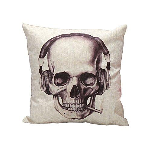 iLove EU Housse de Coussin décorative en Coton pour Halloween Canapé Maison Voiture Housse de Coussin décorative 45 x 45 cm Motif tête de Mort avec Casque
