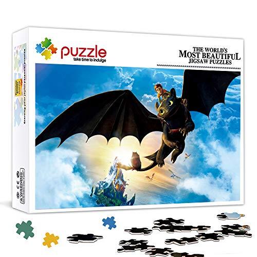 Rompecabezas para adultos 500 piezas Cómo entrenar a tu dragón, niño sin dientes, Hipo Juego de rompecabezas de juguete Juego de rompecabezas Decoraciones y regalos únicos para el hogar 52x38cm