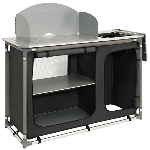 CampFeuer - Campingschrank, Campingküche mit Aluminiumgestell, Spritzschutz und Waschbecken, ca. (L) 117 cm x (B) 50 cm x (H) 111 cm