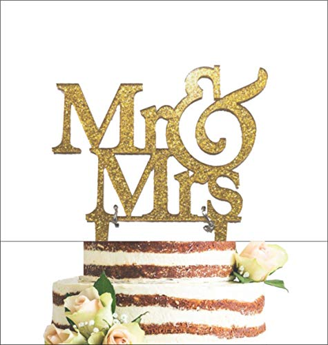 [USA-SALES] Mr and Mrs Sign, Bride And Groom Cake Topper Gold, Wedding Decorations, by Usa-Sales Seller