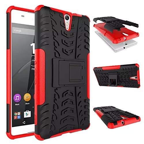 Jielangxin Funda para Sony Xperia C5 Ultra,Teléfono con Soporte a Prueba de Golpes Funda para Sony Xperia C5 Ultra E5553 E5506 E5533 E5563 Carcasa Case Funda Red