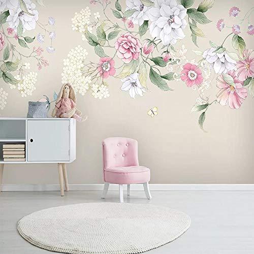 XIAOHUKK 3D self-Adhesive Wallpaper Waterproof PVC Vinyl Wallpaper Creative Art Mural Modern Pastoral Flowers for Home Bedroom Kitchen Furniture Decoration