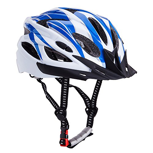 Bormart Adult Cycling Bike Helmet,Lightweight Adjustable Bicycle Helmet Specialized for Men Women Mountain Bicycle Road Safety Protection (Blue+White)
