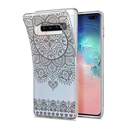 HULI Design Hülle Hülle für Samsung Galaxy S10 Plus Smartphone im Orientalischen Muster Graphit - Schutzhülle aus Silikon mit orientalischem Mandala Henna Ornament Traumfänger - Handyhülle mit Druck