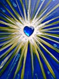 'Glücksstern', Ruhe und Ausgeglichenheit, blau, Acrylfarbe auf Keilrahmen, 20 x 20 cm, mit Glitter...