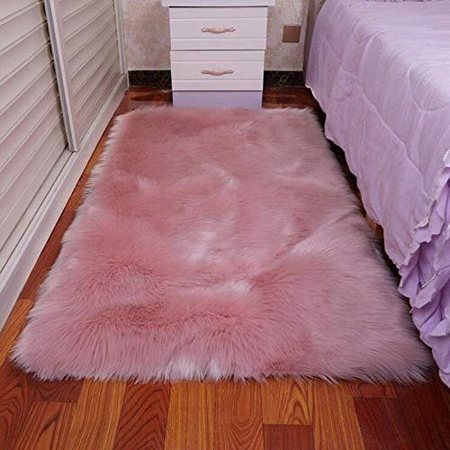 ZLJ Alfombra de Piel de Oveja Alfombra sfluffy, Alfombra de área Grande y esponjosa alfombras de decoración contemporánea para el hogar alfombras de área para Sala de Estar, Rosa, 70x140cm