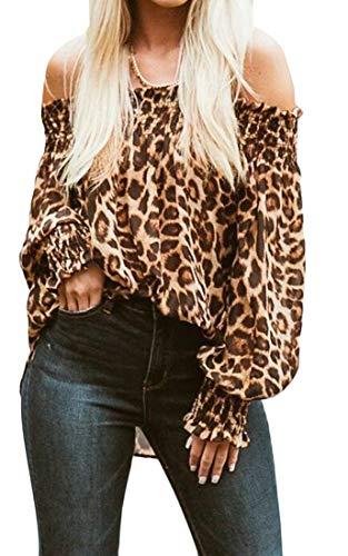 OTW Women 's Casual Hombro Loose Alta Baja Print de Leopardo Camiseta Top de la Blusa 1 S