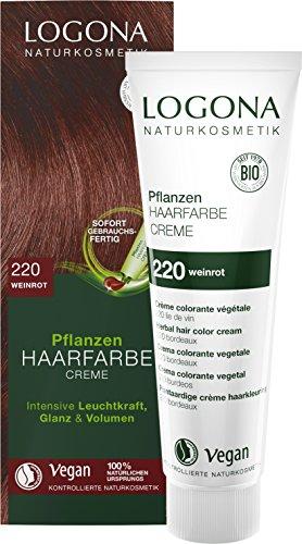 LOGONA Naturkosmetik Pflanzen-Haarfarbe Creme 220 Weinrot, Vegan & Natürlich, Rote Natur-Haarfarbe mit Henna, Farbcreme Tizian, Dauerhafte Coloration, 150ml