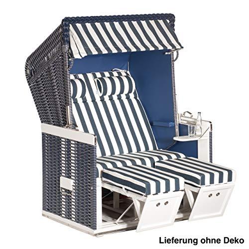 Sonnenpartner Strandkorb Konsul 2 Sitzer Halbliegemodell inkl Ausstattung blau