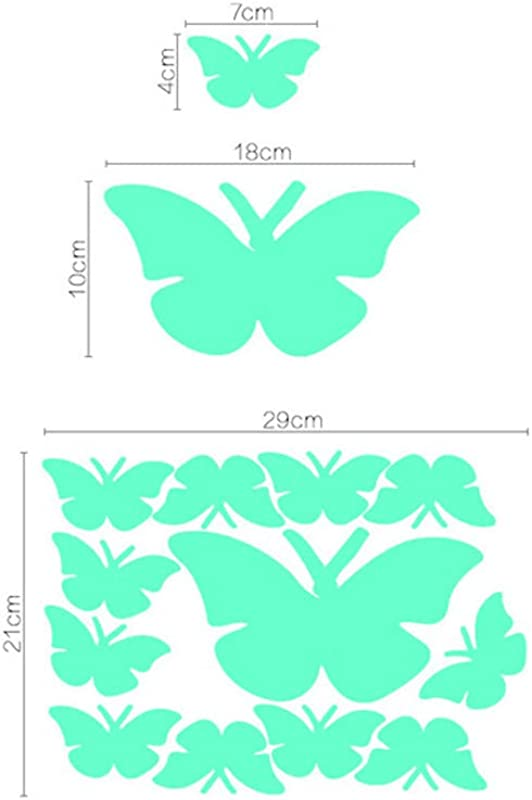 Potelin Premium Quality 12Pcs Luminous Glow In The Dark 3D Butterfly Decals For Kids Children Nursery Room Wall Stickers Decor