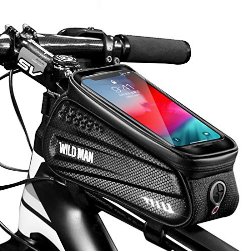Bike Frame Bag, Waterproof Bicycle Handlebar Bag Cycling Front Top Tube Pouch Pannier Bike Phone Bag Mount Holder Stand for iPhone 11 Pro Max XS MAX XR X 8 7 6 6S Plus Smartphones Below 6.5 inch
