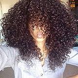 Peluca Sintética, Colores Naturales Del Pelo Rizado Afro Con La Seda Para Los Hombres 55,9 Cm Densidad 180,1