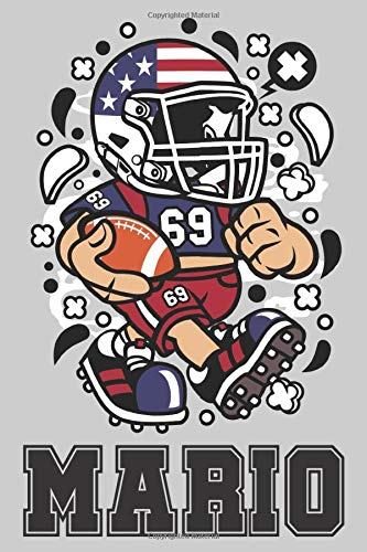 Mario: American Football Personalized Name Mario, Lined Journal Notebook, 100 Pages, 6x9, Soft Cover, Matte Finish, Gift Gifts, Preschool, Kindergarten, Kids