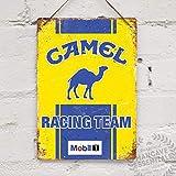 Cartel de metal con texto 'Camel Racing', réplica retro, estilo vintage, para cochera, cobertizo de cochera, rallye