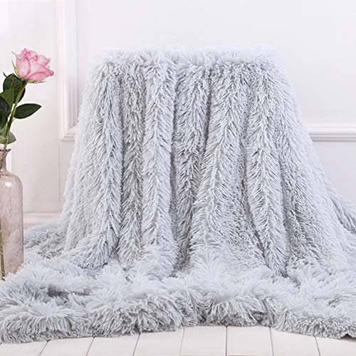 Bantie Superweiche, lange Zottel-Überwurfdecke aus Fleece für Sofa, Kuscheldecken für Erwachsene, warm, elegant, gemütlich, mit flauschiger Decke, Tagesdecke, geeignet für Sofa oder Bett (grau)