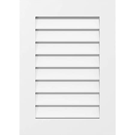 14 W Inch x 16 H Inch Ekena Millwork GVPVE14X1603SF Vertical Surface Mount PVC Gable Vent Factory Primed White