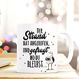ilka parey wandtattoo-welt Lustige Tasse Becher Kaffeetasse maritim mit Möwe Spruch Kaffeebecher Geschenk Motto Spruchbecher Strand Meer ts641