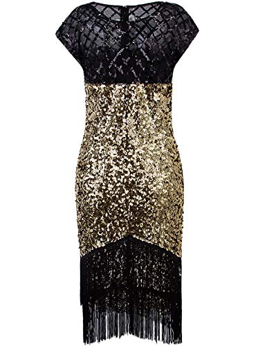 VIJIV Womens Flapper Dress 1920s Fashion Fringe Vintage Style Roaring 20s Great Gatsby Dress for Party Wedding Drop Waist Gold Medium