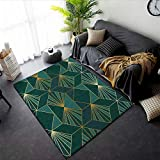WJTHH Alfombra moderna tradicional alfombra grande para dormitorio, diseño geométrico, línea dorada sobre fondo verde, alfombra de yoga, alfombra de estudio, 120 x 180 cm