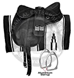 Manaal Enterprises Freemax Selles de cheval en synthétique sans arbres avec sangle assortie gratuite en cuir, étriers en aluminium, coussin de selle Navajo, taille 45,7 cm