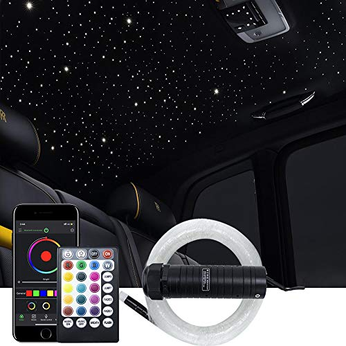 AKEPO Car Home Upgraded APP+Music Control 6W Fiber Optic Lights Star Ceiling Light Kit, RGB Sound Sensor Light Source+Mixed Fiber Cable 295pcs(0.75+1+1.5mm)9.8ft/3m+28key RF Musical Remote
