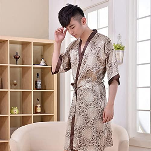JXSM Camisón de seda para hombre, bata de baño de seda fina de hielo, camisón de seda sexy de longitud media para hombre, albornoz de talla grande, juego de dos piezas (color: A, tamaño: 170 (l))