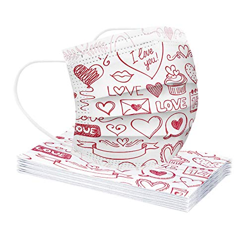 LINOJIN Valentine's Day Heart Print Disposable Face Mask Industrial 3 Ply Filter Mask Non-Woven Breathable Covering for Coronàvịrụs Protectịon
