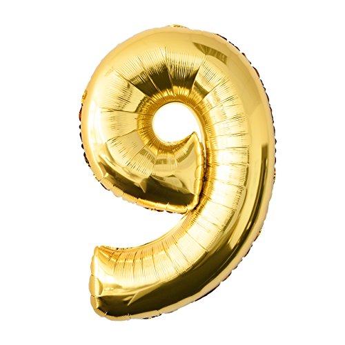 Globo de lámina 9 dorado Número enorme 100 cm rellenable con helio o aero fiesta de cumpleaños