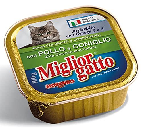 MIGLIOR GATTO Set 32 100 gr Humide Poulet-Lapin Nourriture Pour chats