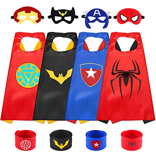 Superhero Capes for Kids, with 4 Masks and 4 Slap Bracelets for Kids Cartoon Dress up Costumes Best Superhero Toys