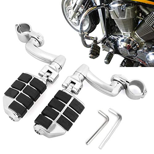 1 1/4' Motorcycle Footpegs Highway Foot Pegs Rest with Quick Clamps for Road King Street Glide Honda Kawasaki Suzuki Yamaha Engine Guards/Tubing (Chrome)
