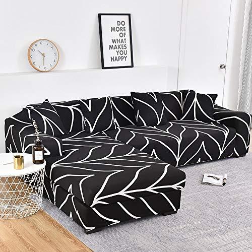 ASCV L-förmige Abdeckung Ecksofa Schonbezug Elastische Sofabezug für Wohnzimmer Stretch Couch Bezug 1/2/3/4 Sitzer A14 3-Sitzer