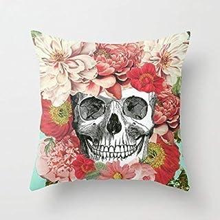 N\A Frida Kahlo Skull Throw Pillow Cover Fundas de Almohada Funda de cojín Cuadrada Decorativa