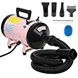 Voilamart 2800W Pet Dryer Low Noise Motorcycle Dryer Dog Grooming Blaster with 2 Speed Adjustable Temperature Heater, Bath Comb and Flexible Hose, Pink