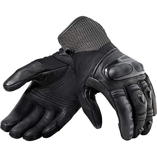 REV'IT! Guantes cortos para moto Metric para hombre, Tourer, todo el año, piel/textil Negro/antracita. M