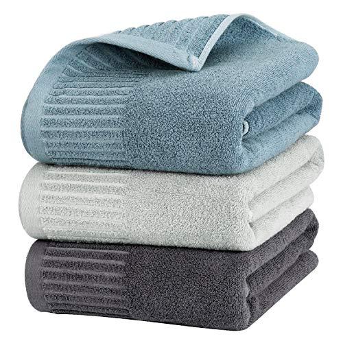 Etech バスタオル 大判 人気 ふわふわ 抗菌 吸水 速乾 安い 3枚組 まとめて買い 綿100% 70x140cm ホテル仕様 柔らか肌触り 肌馴染みの良い