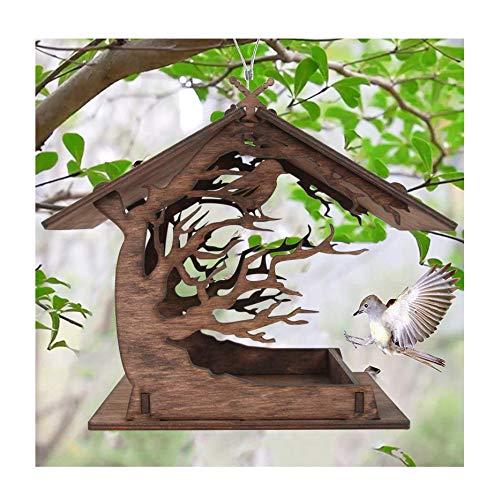 Detrade Vogelfutterhaus Holzhaus Handarbeit aus Natur-Holz für Gartenvögel wetterfest, naturbelassen | Vogelhaus zum Aufhängen im Garten und Balkon Hof Villa Balkon Vogelhäuschen