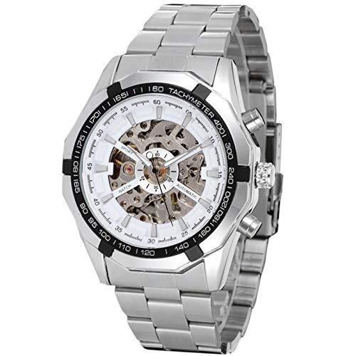 Flytise Reloj mecánico automático para Hombre Reloj de Pulsera de Moda con Banda de Acero Relojes de diseño Hueco