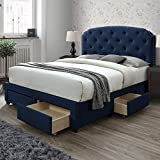 DG Casa Argo Tufted Upholstered Panel Bed Frame with Storage Drawers and Nailhead Trim Headboard, King Size in Blue Faux Velvet