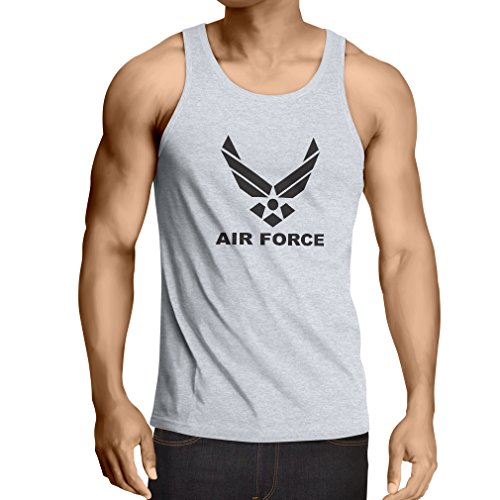 lepni.me Camisetas de Tirantes para Hombre United States Air Force (USAF) - U. S. Army, USA Armed Forces (Medium Blanco Negro)