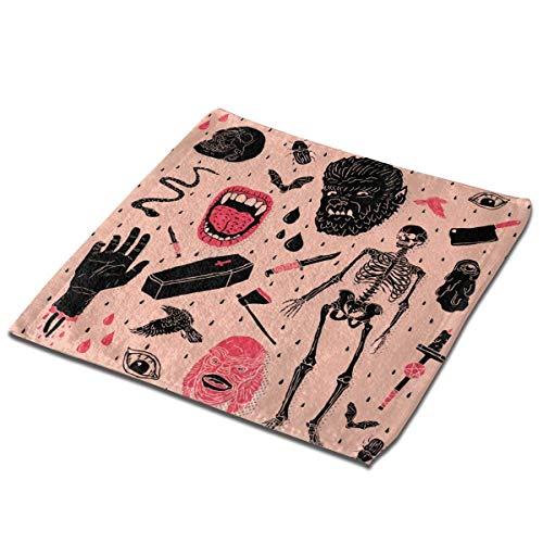 deyhfef Juego de 2 toallas de baño para baño, hotel, spa, cocina, multiusos con punta de dedos y paños faciales, 33 x 33 cm, Whole Lotta Horror
