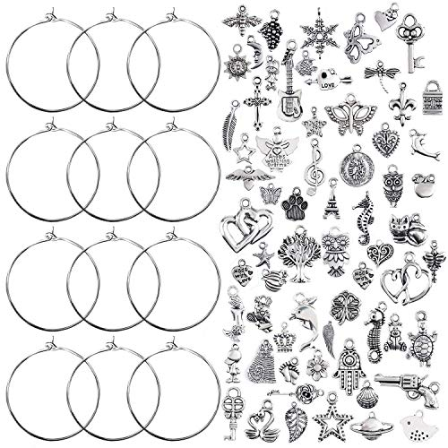 100 Pieces Wine Glass Charm Rings Earring Hoops and 100 Pieces Ocean Fish & Sea Charms Pendants for DIY Your Unique Wine Glass Marker