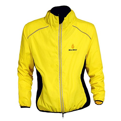 Eaglebeky WOLFBIKE Cycling Jacket Jersey Wind Coat Windbreaker Jacket Outdoor Sportswear (Yellow, XL)