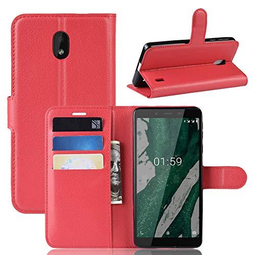 Fertuo Nokia 1 Plus Hülle, Handyhülle Leder Flip Case Tasche mit Standfunktion, Kartenfach, Magnetschnalle, Silikon Bumper Bookstyle Schutzhülle Wallet Cover für Nokia 1 Plus, Rot