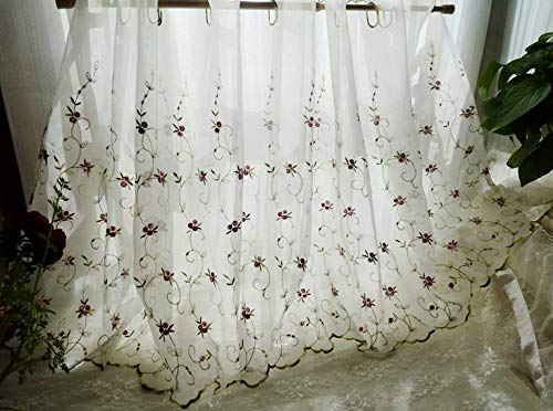 """Kolachic French Country Sheer Cafe Curtain Tier Rose Buds Flower Floral Embroidered Tulle Window Valance (59"""" W x 23""""H/ 150x58cm (1 Panel))"""