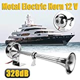 HEYVO 328DB 12V super loud universal air horn single horn chrome-plated compressor for boats, trucks, trailers, motorcycles