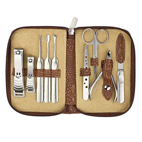 BeauBog TM Manicure Kit, 9pcs Stainless Steel Home Nail Care Set for in Attractive Style Pouch + White PVC Box- Ideal for Men, Women, & Kids, Sharable by the Entire Family, Can Withstand Multiple Use without Warping, Easy Cleaning, Rust-free - Ideal Gift